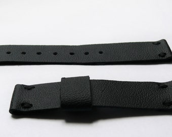 Black leather watch band, Handmade leather watch strap, genuine leather watch strap 16mm watch band, mens anniversary gift