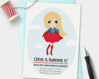 Supergirl Invitation, birthday invitation, kids invitation, Custom invitation, party invitation, superhero girl invitation, cute girl invite
