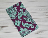 Damask Print Travel Organizer - Plum and Aqua Pattern Boarding Pass Wallet - Magnet Clasp Passport Holder - Luxe 8-Pocket Travel Wallet