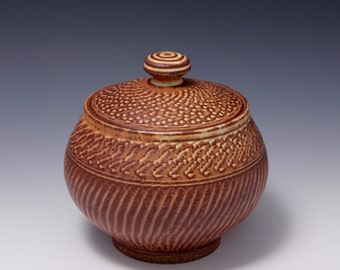 Wheel Thrown Stoneware Covered Jar with Chattering Texture by HsinChuen Lin 林新春