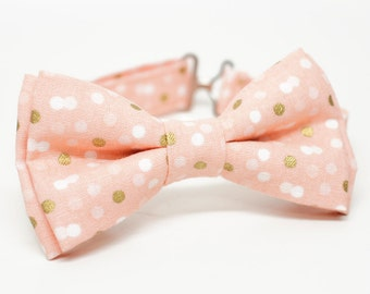 Peach metalic gold dotty Bow Tie for all ages, gold and peach - Pre-tied bowtie - ring bearer, wedding day, photo prop, church