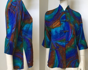 Vintage 1960s Polynesian Casuals Colorful Tunic with Frog Closures