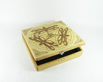 Trinity Celtic Dragonfly Jewelry Box - Wood Pyrography - Trinket Box Treasure Box - Bkinspired