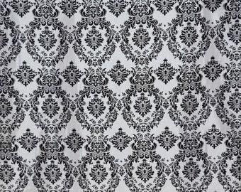 Damask taffeta velvet flocked white dress home decor apparel curtains by the yard