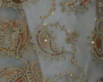 Champagne Paisley Coco embroidery Sequins Sheer Polyester dress apparel fabric 54