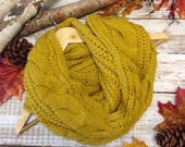 Scarf in Goldenrod, Chunky cuddly ultra soft cable knit, tube, poncho,  infinity scarf  cowl tube scarf, wrap, unique, women  SC31