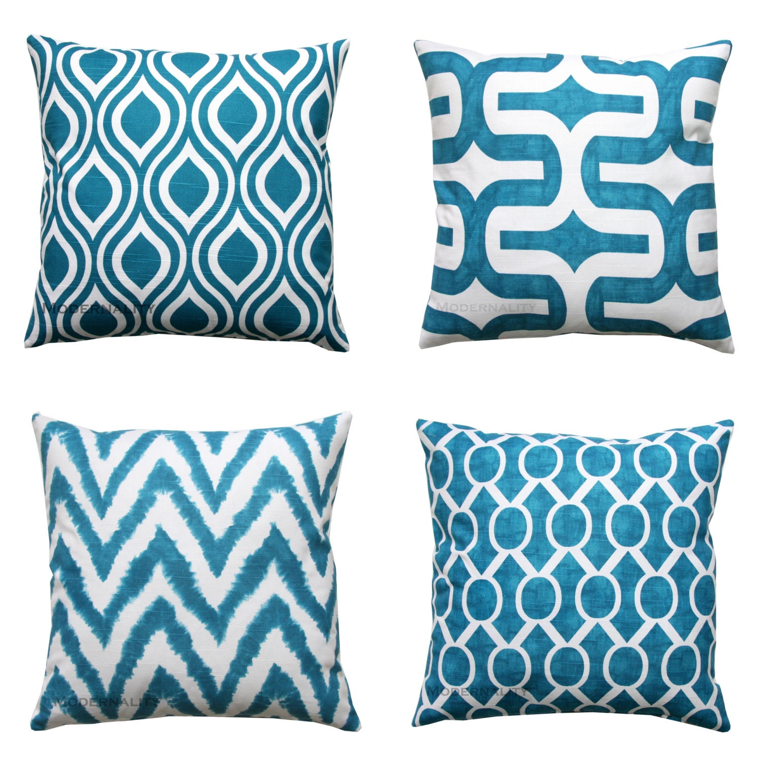 Blue toss pillows aquarius dark turquoise by for Almohadones para sillones