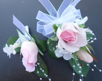 Set of PROM or  WEDDING Corsages. Light Pink Red White Purple Real Touch Mother of the Bride Wrist Corsage Silk Flowers. Destination Wedding