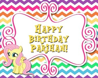 Fluttershy Pony Printable Birthday COLLECTION - Customized Ponies Party Decor