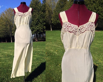 1930s-1940s Large Yellow Nightgown / Plus Size Vintage Lingerie / Size 38 / Yellow Nightgown Bias Cut / 1930s Lingerie