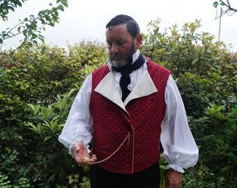 Custom Made Regency Double Breasted Red Cotton Waistcoat/ Vest Late Georgian. Early Victorian. Mens Regency Costume