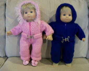 91) SALE 20.00 In Stock Item Only = 24.00 Special Order reg Price Knit Snowsuit Bitty Baby Knit Boy Girl Twins 15 Inch Doll Zipper Buckle