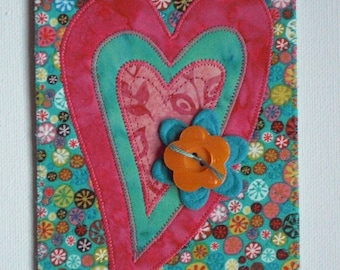 Heart Card Postcard Birthday Mom Her Him Friend Child Housewarming Thank You Frame Hello Love Room Decor Gift Fabric Quilted Appliqued 4x6