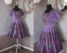 Vintage 1970's Purple Square Dancing Dress with Hummingbird Print S/M