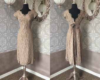 Vintage 1950's 60's Jane Andre Mocha Brown Lace Cocktail Dress Small