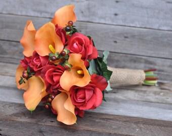 Silk Wedding Bouquet, Fall Wedding Bouquet, Keepsake Bouquet, Bridal Bouquet  made with Orange Calla Lily and Red Rose silk flowers.