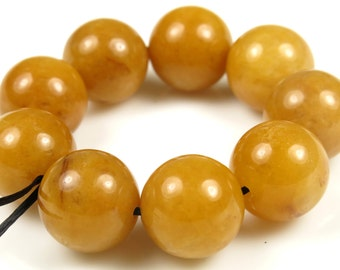 Scrumptious Yellow Jade Round Bead  - 12mm - 9 Pieces -  B5222