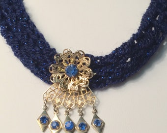 Blue Vintage Sparkly Dangle Coker & back jewel drop