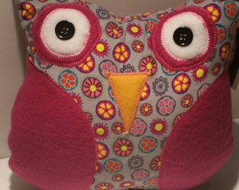 Decorative soft brushed corduroy and fleece Owl Handmade with love by Sesamecrunch