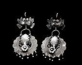 Filigree kissing doves and mazahua heart earrings