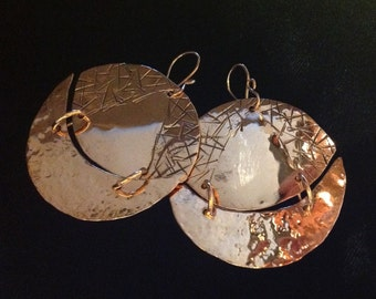 """Copper Hammered 2""""circle earrings"""