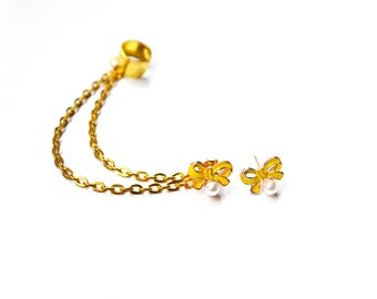 Yellow Pearl Bow Gold Cuff Earrings (Pair)