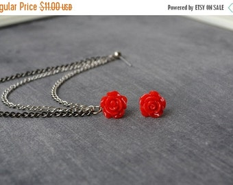 VALENTINES DAY SALE Red Rosette Silver and Black Chains Double Pierce Cartilage Earring (Pair)