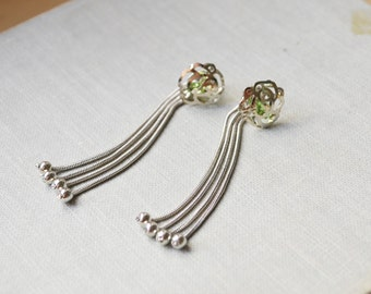 Silver and Green Rose Ear Jacket Earrings