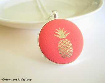 Pineapple Fabric Button Necklace,Pineapple Button Necklace, Button Necklace,Button Jewelry,Fabric Necklace,Fabric Jewelry,Pineapple Jewelry