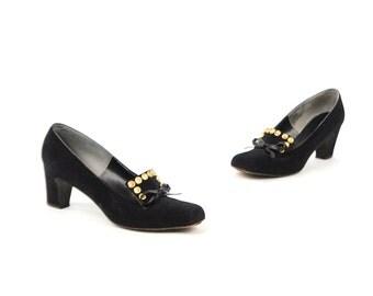 Vintage 1960's Herbert Levin Black Matte Suede Studded Gold Flowers Mod Chunky Heel Shoes 8