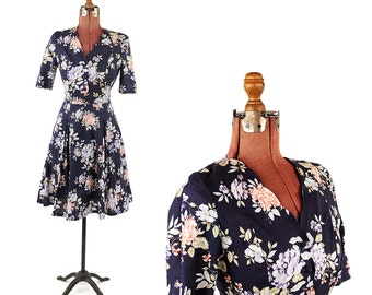 Vintage 1980's Laura Ashley Soft Navy Blue Cotton Romantic Floral Print Scalloped Garden Party Dress S