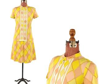 Vintage 1960's Sacony Ciella Yellow + Tan Mod Abstract Op Art Drop Waist Scooter Shift Dress S M