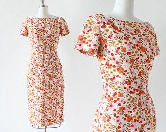 "1950s Jane Derby dress / Linen Dress / Flower Print Linen Dress / Wiggle Dress / Medium / 28"" Waist / 1960s Dress / Floral Print"