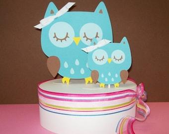 Owl Cake Topper/ Momma & Baby/ Baby Shower/ Happy Birthday/Blue Set