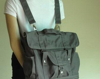 Back To School SALE 30% - Pico2 Backpack in Wax Dark Grey/ Shoulder Bag / Satchel / Rucksack / Messenger Bag / Diaper Bag/ School Bag/ Women