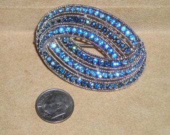 Vintage Trifari Blue Rhinestone Brooch 1960's Signed Jewelry 7078