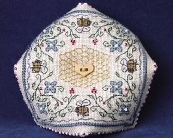 Sweetheart Tree Bumblebee Biscornu Pin Cushion Counted Cross Stitch Kit