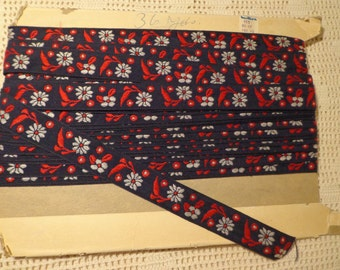 Vintage 15 Yards Embroidered Red White Blue Floral Sewing Craft Trim Ribbon