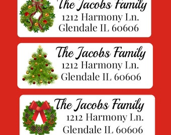 Christmas Address Label, Return Address Label, Christmas Envelope Seal, Christmas Label, Personalized Christmas Gift Tags (644)