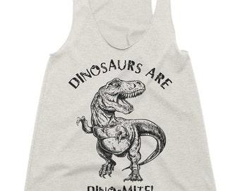 Dinosaurs Are Dinomite Tri-Blend Racerback Tank - American Apparel Tanktop - XS S M L (Color Options)