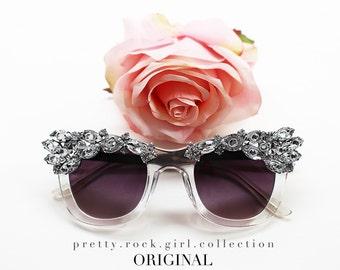 Crystal Clear Embellished Stunner Shades, crystal wayfarers, Jeweled Wayfarers, Beach Sunglasses, wedding sunglasses