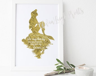 Disney The Little Mermaid, Princess Ariel, Faux Gold Poster, Childrens Nursery Print, Printable Gift Wall Art, Instant Download