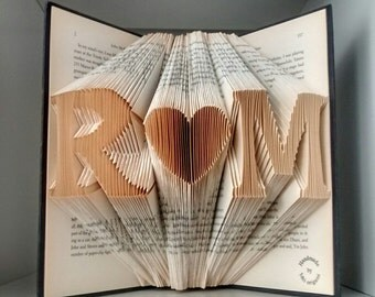 Initial Folded Book Art-Paper Anniversary-Book Sculpture Gift-cadeau de marriage-gift wrapped