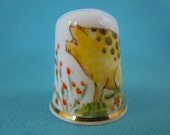 Thimble Bone China  with Pig and Flowers