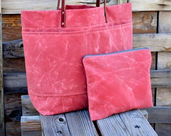 Waxed Canvas Tote Pink Waxed Canvas Bag Matching Zippered Pouch  Weekender Carry-on Tote Gift for Women Book Bag Laptop Bag