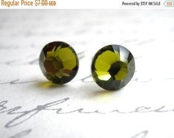 SALE Green Crystal Stud Earrings, Stud Earrings, Green Earrings, Olivine, Olive, Bridesmaid Earrings, Bridesmaid Gifts, Wedding Jewelry