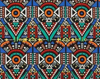 C2041A - 140cmx100cm Cotton Fabric - Geometric patterns - Circle,Triangular shape (blue)