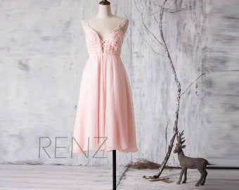 Chiffon Bridesmaid Dress, Blush Pink Wedding Dress, Spaghetti Strap Sweetheart Party Dress, Short Formal Dress Knee Length (H068)
