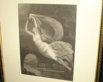 Antique Steel  Engraving of a Muse (Goddess)