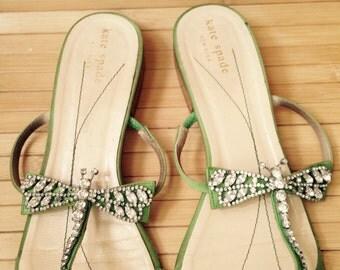 Gorgeous Kate Spade green sandal with Swarovski dragonfly, size 9